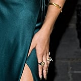 The singer blinged up her arm and fingers with multiple rings and a wrap bangle.       Bracelets at Max & ChloeRings at Max & Chloe