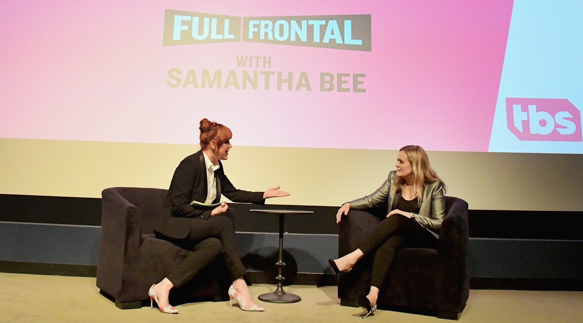 BEVERLY HILLS, CA - MAY 24:  Moderator Molly Ringwald (L) and Executive Producer & Host Samantha Bee speak onstage during 'Full Frontal with Samantha Bee' FYC Event Los Angeles at The WGA Theater on May 24, 2018 in Beverly Hills, California.  (Photo by Charley Gallay/Getty Images for TBS/Turner)