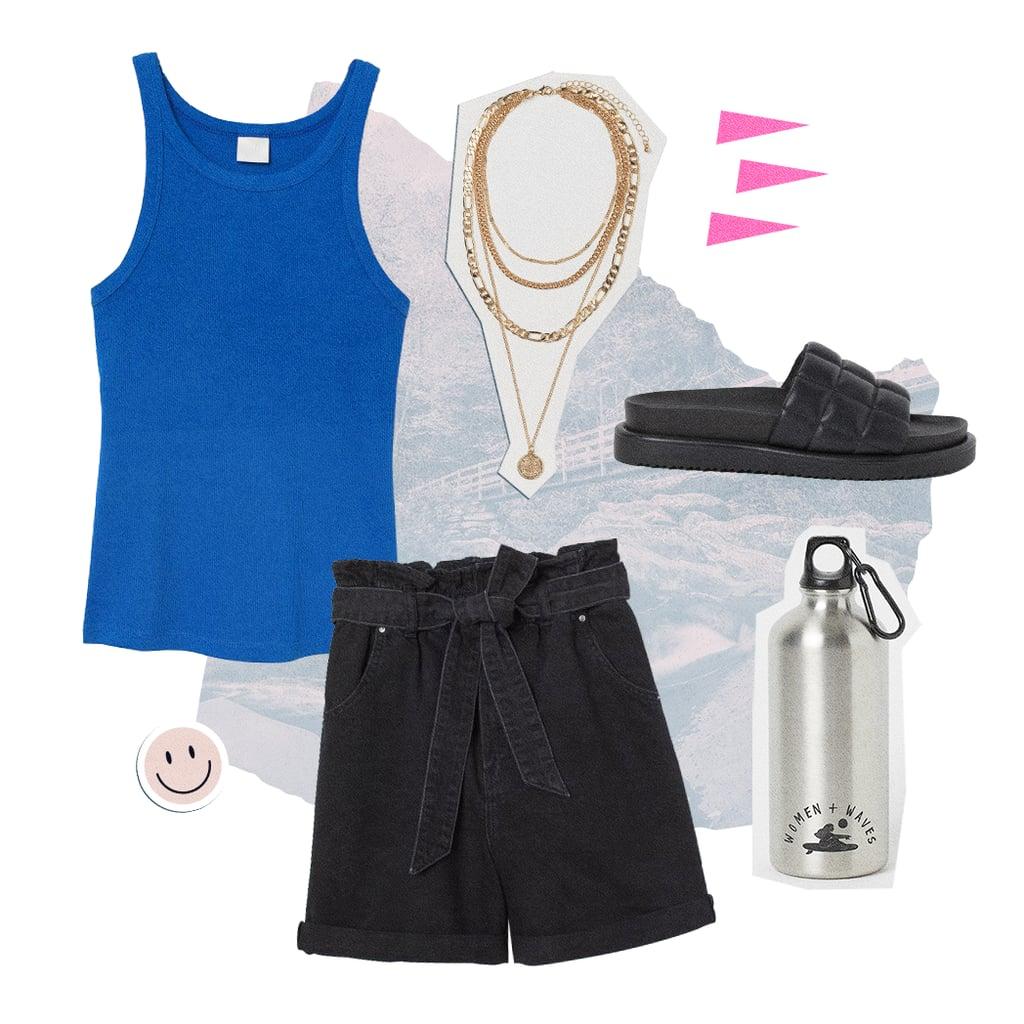 Ribbed Tank + Paper-Bag Shorts