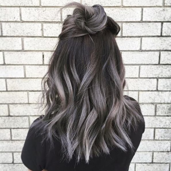 smokey gray ombre hair ideas popsugar beauty