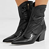 Tibi Felix Patent Trimmed Leather Ankle Boots