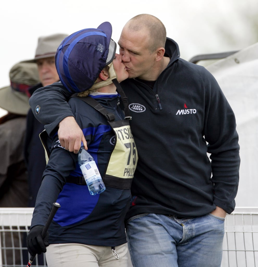 The most prolific royal smoochers by far are Zara and Mike Tindall, pictured here at the Badminton Horse Trials in 2010.