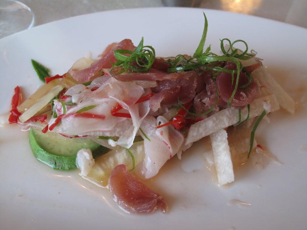 Blackfin Tuna Bacon and Speckled Hine Tiradito