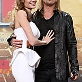 Angelina Jolie cuddled up to Brad Pitt at the Berlin premiere of World War Z.