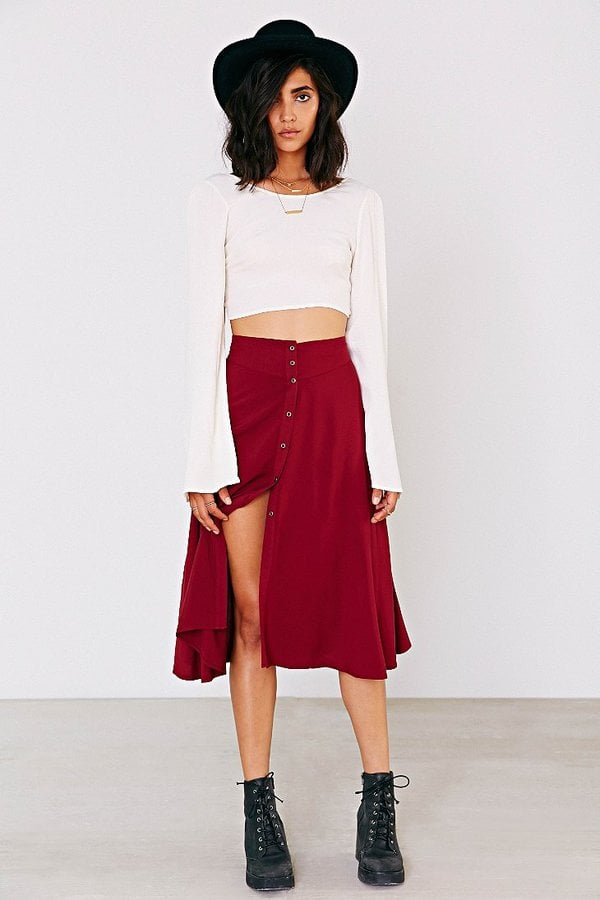 Button Down Midi Skirt