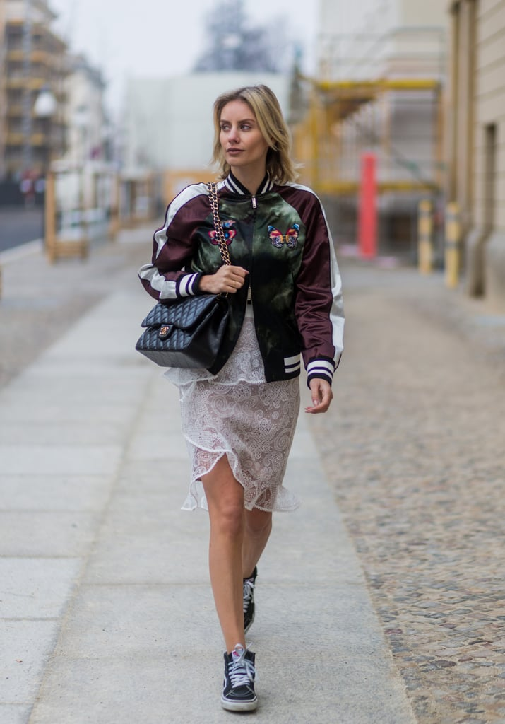 With a Lacy Skirt and Silky Bomber Jacket