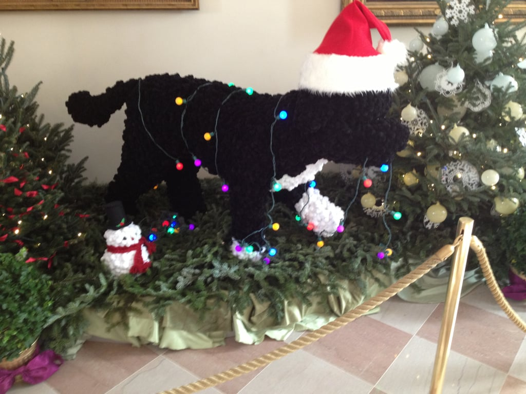 There was a replica of Bo Obama, the first family's Portugese water dog, in the East Garden Room, which was specially decorated with kids in mind.