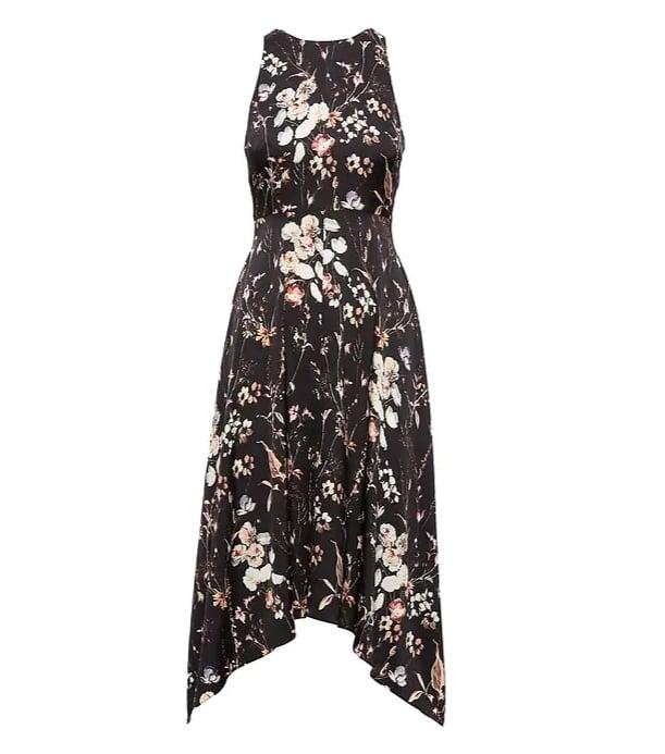 Floral Washable Stretch Silk Midi Dress