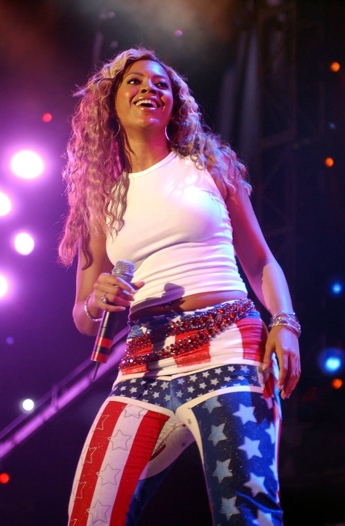 Beyoncé Knowles rocked American-flag pants during an October 2001 concert in Washington DC.