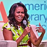 Michelle Obama Green Printed Dress June 2018