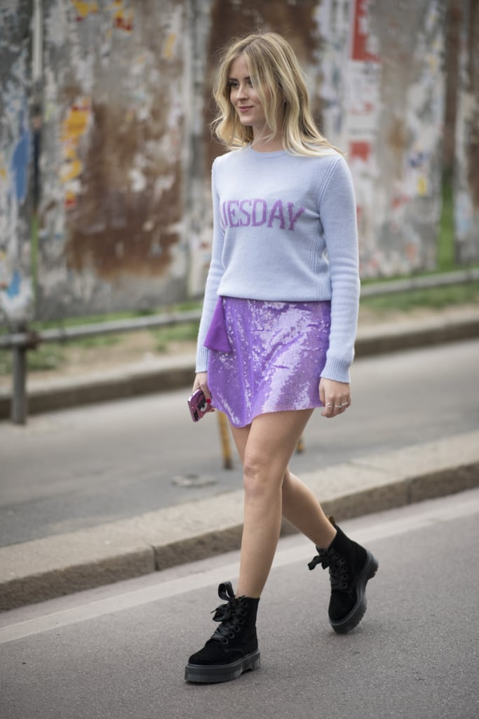 Style a Sequinned Mini With a Cool Sweater