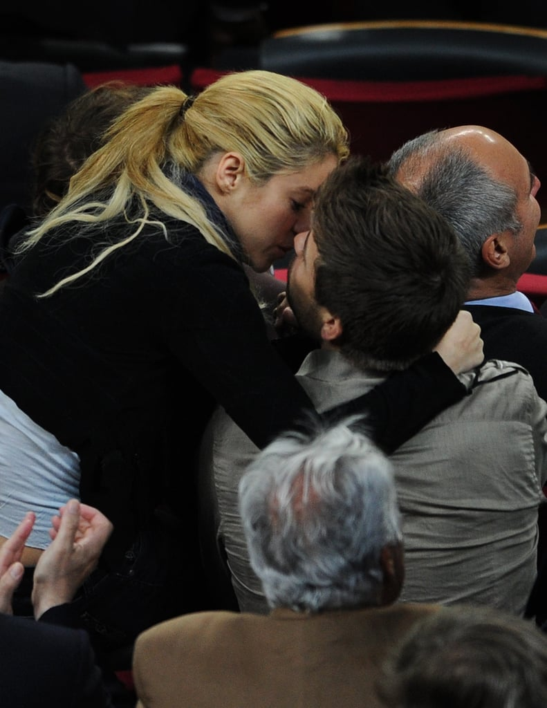 Shakira and Her Man, Gerard, Lock Lips During a Soccer Match