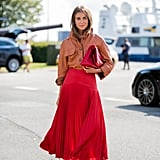 Fall Outfit Idea: Leather Shirt + Pleated Skirt