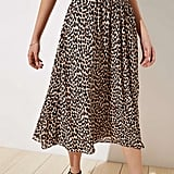 Loft Leopard Print Smocked Pull On Maxi Skirt