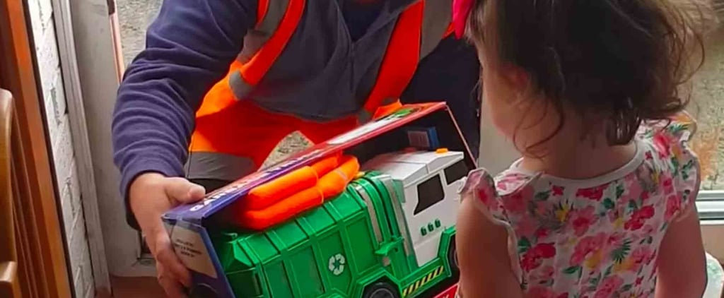 Garbage Men Give a Little Girl Presents