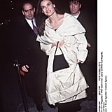 Attending Interview magazine's 30th anniversary party in a plush, white coat and black separates in October '99.