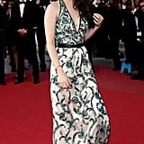 Kristen Stewart wore a printed gown to the On the Road premiere in Cannes.