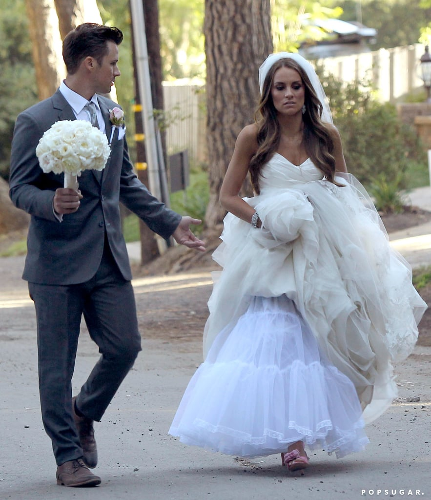 Matt Lanter chatted with Angela Stacy as they strolled together.