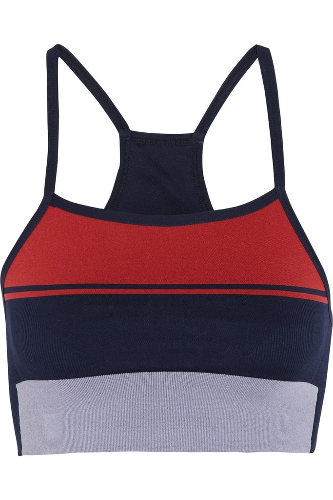 LNDR Block Striped Stretch-Knit Sports Bra