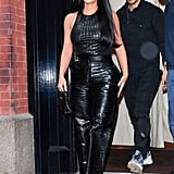 Kim Kardashian's Black Croc-Effect Leather Pants in NYC