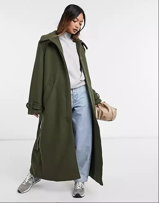 Weekday Ricky Recycled Wool Belted Coat in Khaki