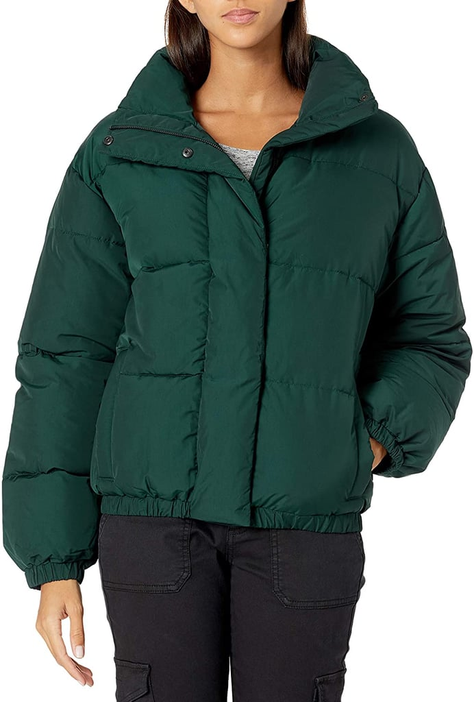 Daily Ritual Relaxed-Fit Mock-Neck Short Puffer Jacket in Moss Green