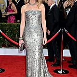 Helen Hunt shined bright in a silver beaded Romona Keveza gown with equally stunning accessories.