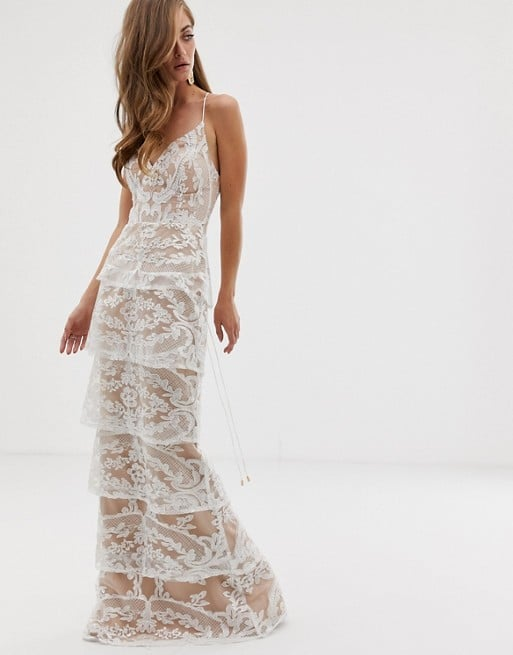 Bariano Tiered Contrast Lace Maxi Dress