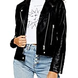 Topshop Teddy Faux Leather Biker Jacket