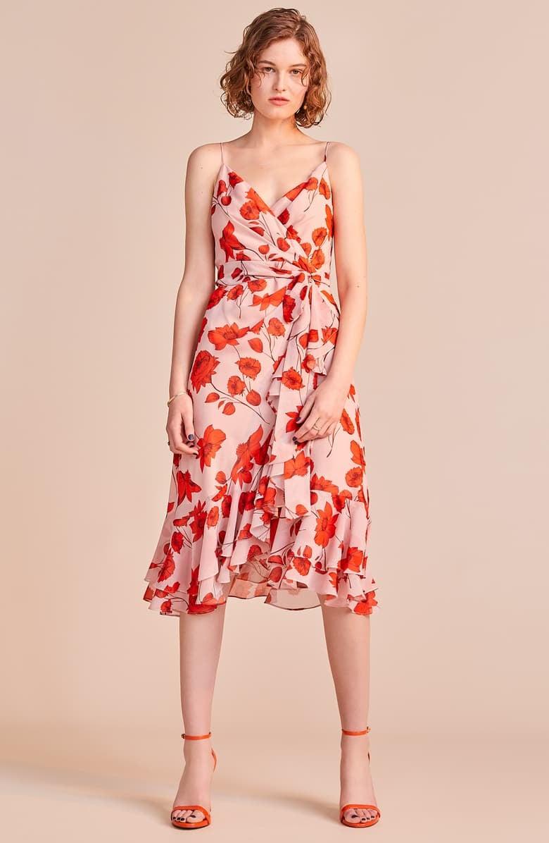 Eliza J Floral Print Faux Wrap Chiffon Dress   20 Stunning Wedding ...