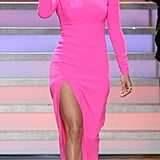 Jennifer Lopez pulled an Angelina in Michael Kors's hot-pink gown on American Idol.