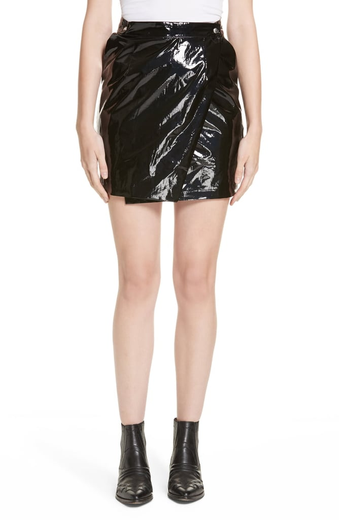 Roseanna Town Faux Patent Leather Wrap Miniskirt