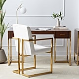 MoDRN Glam Marion Sleigh Base Desk and Channel Tufted Office Chair