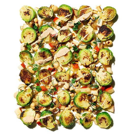 Brussels Sprout and Hazelnut Salad With Chili Yogurt