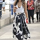 Aimee Song paired Tibi's paint-splattered Resort skirt with a basic tank.