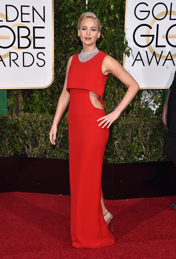 2016's Golden Globes look was a red-hot figure-flattering number by Dior finished with a stunning Chopard necklace and Roger Vivier shoes.