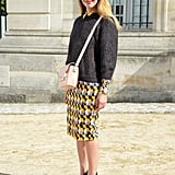 A printed H&M skirt amped up the interest on this Fall pullover.