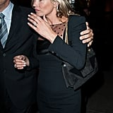 Another look at Kate Moss's LBD — and beautiful wedding ring — as she arrived at Saint Laurent.