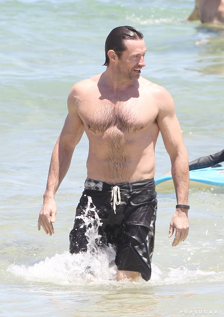 Hugh Jackman bared his fit physique on Bondi Beach during a trip to his native Australia on Wednesday.