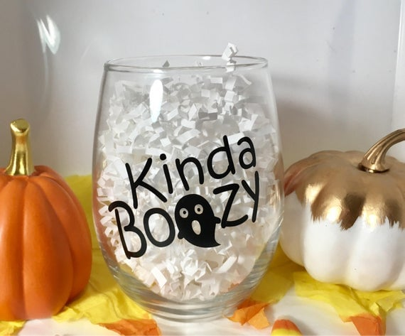 Halloween Party Stemless Wine Glass