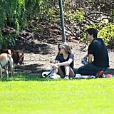 Amanda Seyfried and Justin Long hung out at a park in LA with Amanda's dog.