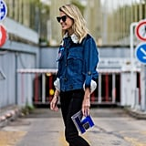 With a denim jacket and metallic clutch to keep things casual cool.
