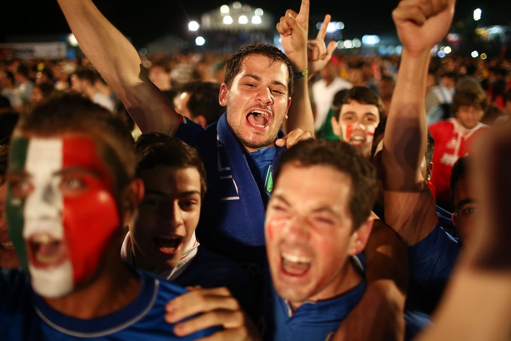 Italy fans celebrated while watching the country's game against England in Rio de Janeiro, Brazil.