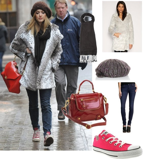Photos of Fearne Cotton in Grey Faux Fur Coat with Mulberry Neely