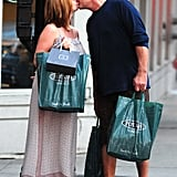 Happy couple Kelsey Grammer and pregnant wife Kayte Walsh shopped in Chicago in July.