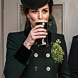 Kate casually sipped on her beer in between photo ops on St. Patrick's Day.