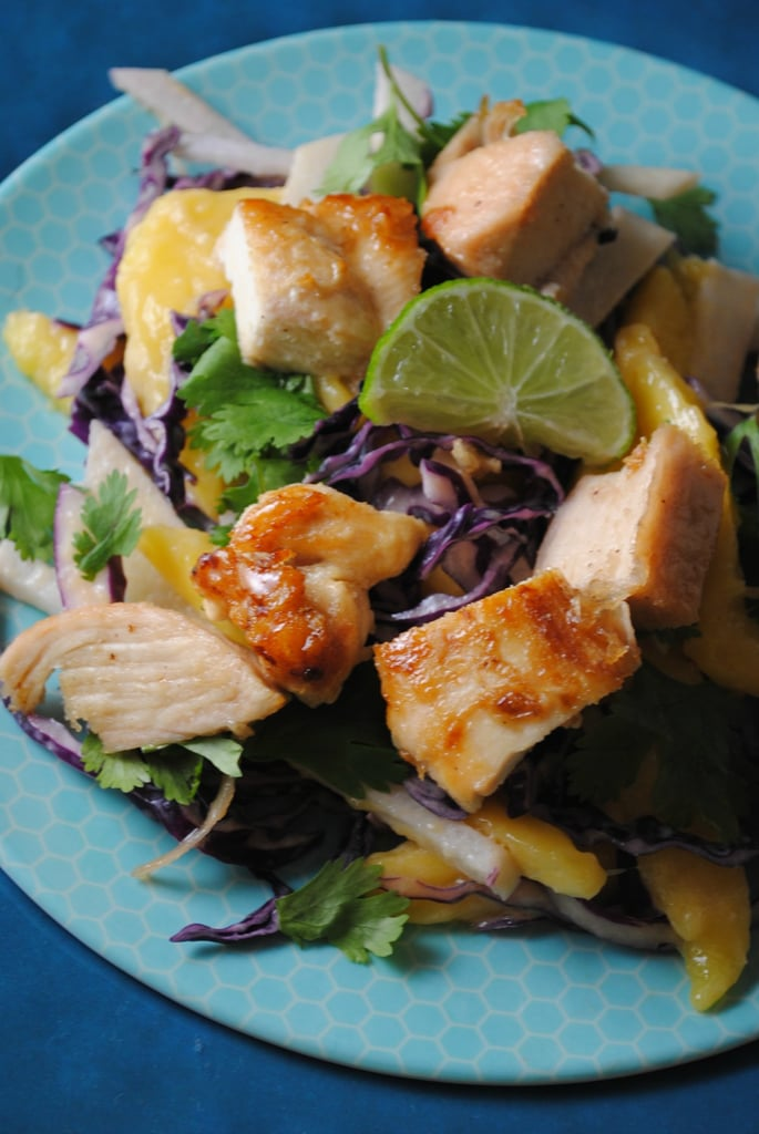 Honey Lime Chicken Bites With Mango Jicama Slaw