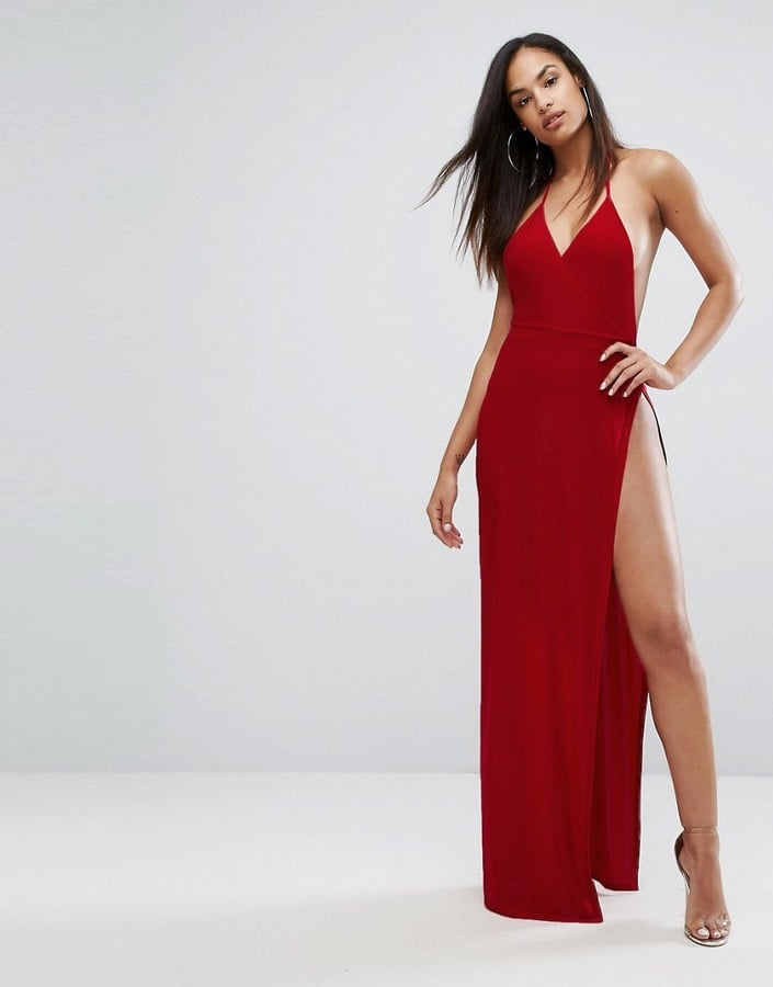 Club L Slinky Wrap Front Maxi Dress Sexy Red Dresses For