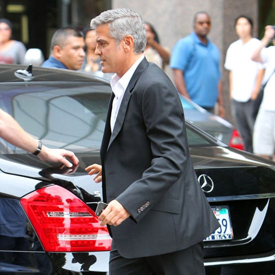 George Clooney Shooting a Mercedes-Benz Commercial in LA Pictures
