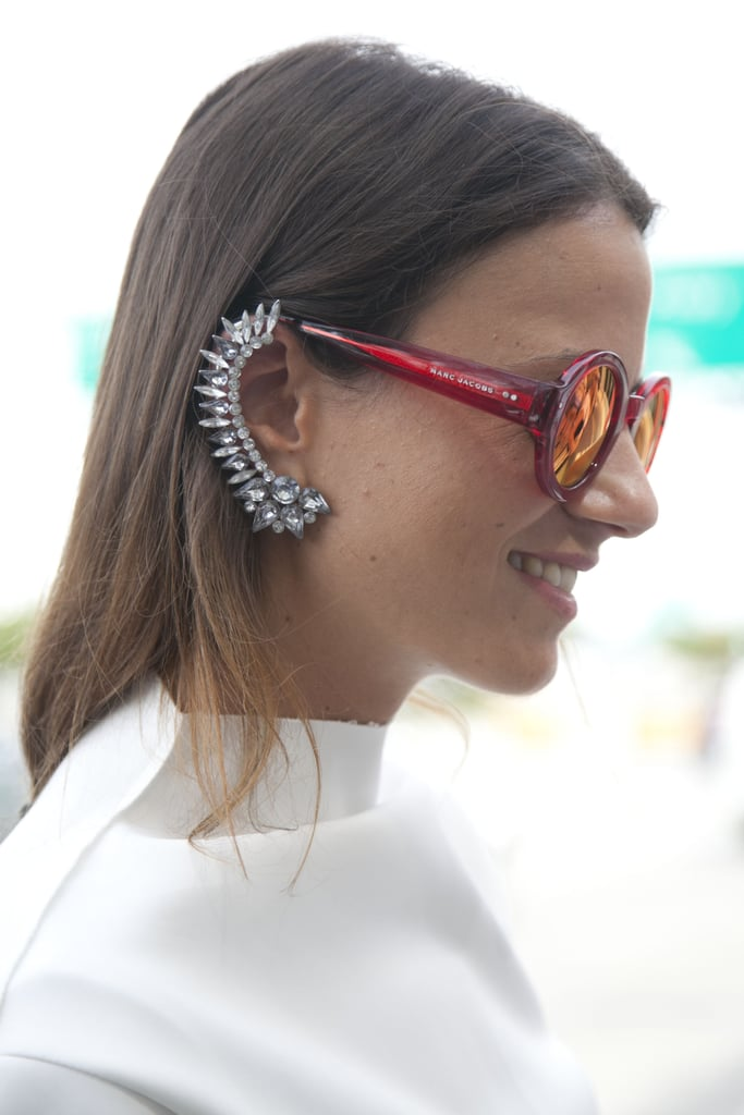 A seriously fierce ear cuff offset surfer-girl shades.